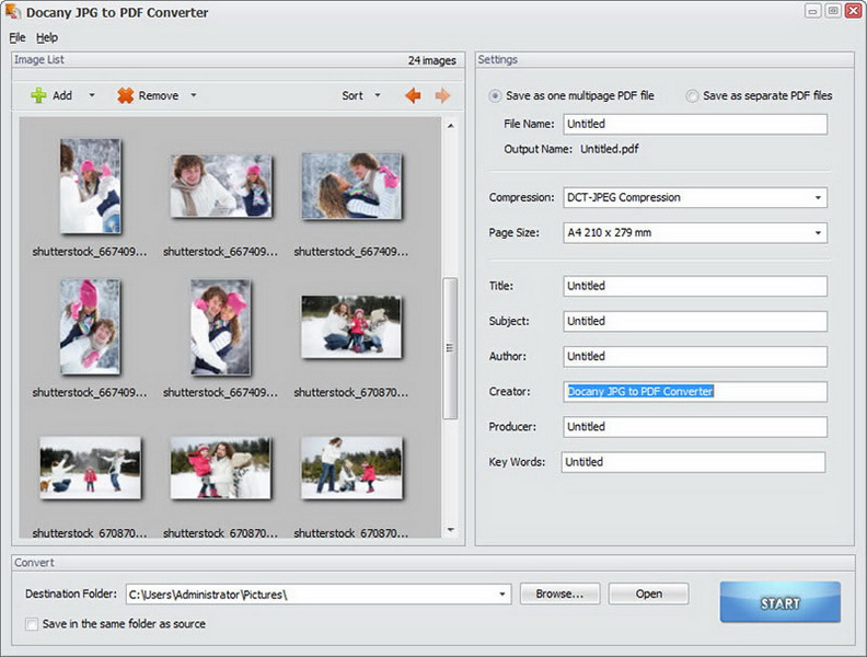 Batch convert JPG images to PDF files.