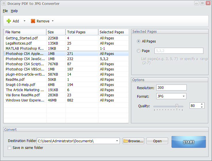 Click to view Docany PDF to JPG Converter 1.1.2 screenshot